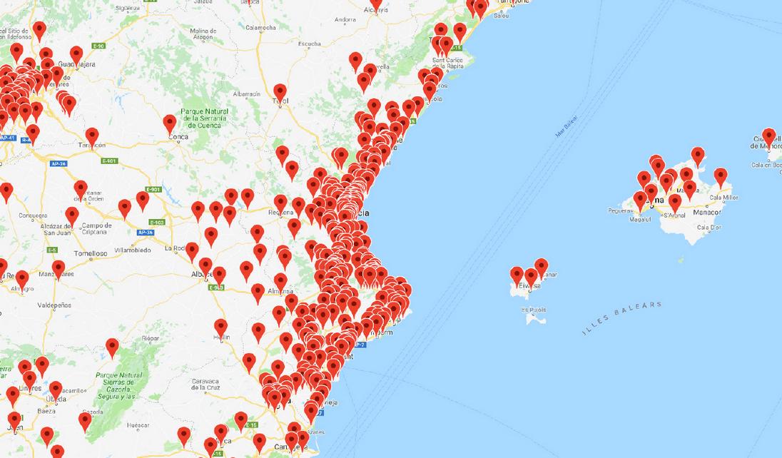 Mapa d'ubicacions dels oients (Comunitat Valenciana)